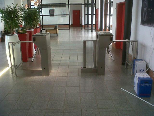 waist height turnstiles at SABS