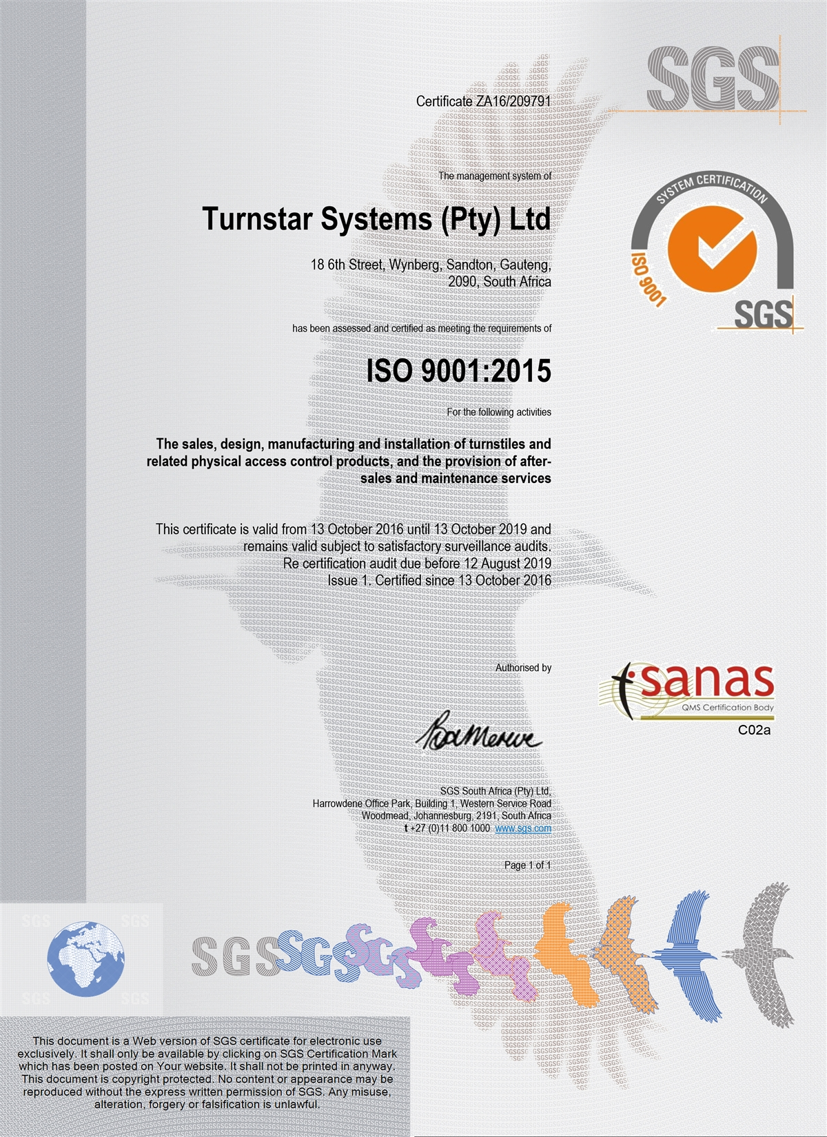 Turnstar ISO9001 Certification africa's largest manufacturer of physical access turnstar turnstar wiring diagram at gsmportal.co